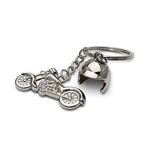 DonJordi Schlüsselanhänger silber Chopper Motorrad mit kleinem Helm - Das Geschenk für Biker & Motorradfahrer I Harley