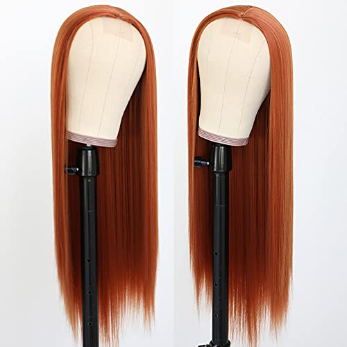 Lovestory Silky Straight Synthetic No Lace Wigs Fashion Dark Orange Long Straight Synthetic Hair Wig For Women