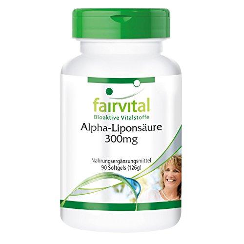 Alpha Liponsäure Kapseln 300mg (Alpha-lipoic acid, ALA) - für 3 Monate - HOCHDOSIERT - 90 Softgels