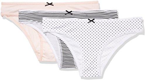 IRIS & LILLY Braguita Brasileña Cotton para Mujer, Pack de 3, Multicolor (Soft...