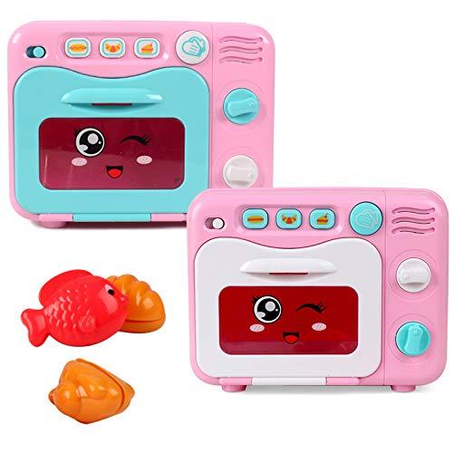 elegantstunning Spielhaus Geschirr mit Musik und Licht Brotbackautomat Mikrowelle Wasserkocher Kochbank Kinder Puzzlespiel Spielzeug Zufällig