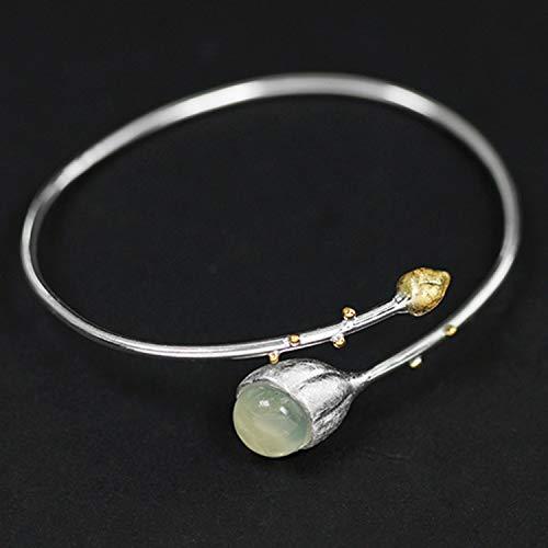 Lotus Fun S925 Sterling Silber Armreif Elegante Lotusknospen Armreif Natürlicher Aquamarin Kreativ Handgemachter Einzigartiger Schmuck für Frauen und Mädchen (Gold-Green)