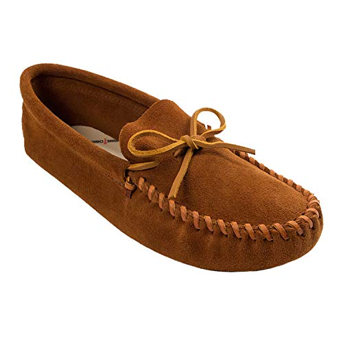 Minnetonka Men's Leather Laced Softsole Moccasin,Brown,9 M US
