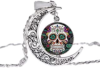 Inveroo Sugar Skull Necklace Ancient Silver Curved Crescent Moon 3D Effect Glass Photo Cabochon Pendant Boho Jewelry