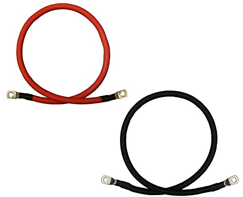 4 AWG Gauge Red + Black Pure Copper Battery Inverter Cables Solar, RV, Car, Boat 9 in 3/8 in Lugs