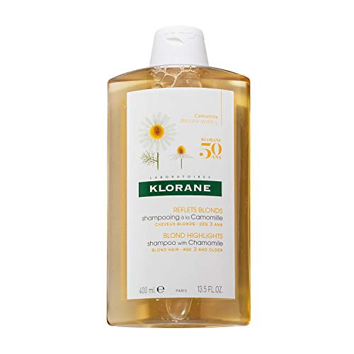 Klorane Shampoo with Chamomile for Blonde Hair, Enhances Highlights, Brightens Blonde Hair, Paraben, Hydrogen Peroxide, Ammonia, SLS Free, 13.5 oz.