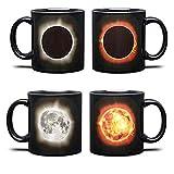 Hosoncovy Magic Solar Eclipse Wärme ändernde Kaffeetasse mit Griffempfindliche Tasse Wärmebecher Magic Solar Eclipse Mondfinsternis Farbwechselbecher Keramik Tee Milchbecher