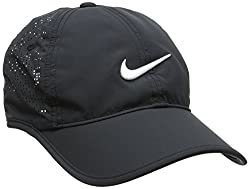 Black Nike running hat with mesh and white logo