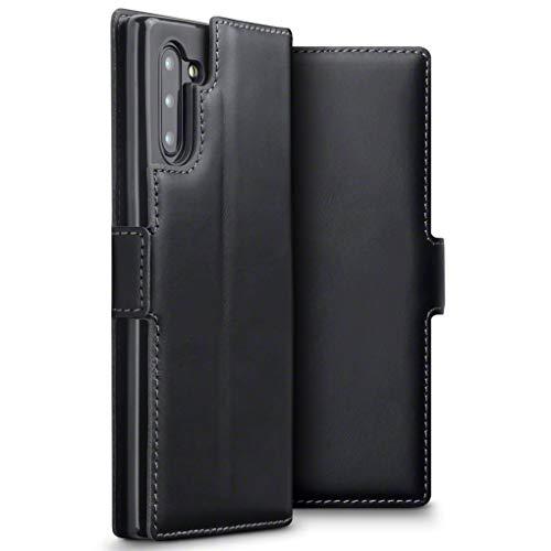 TERRAPIN, Kompatibel mit Samsung Galaxy Note 10 Hülle, Premium ECHT Spaltleder Flip Handyhülle Samsung Galaxy Note 10 Hülle Tasche Schutzhülle, Schwarz