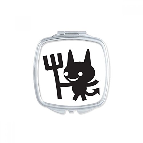DIYthinker Duivel Gelukkig Angst Halloween Vierkant Compact Make-up Pocket Spiegel Draagbare Leuke Kleine Hand Spiegels Gift