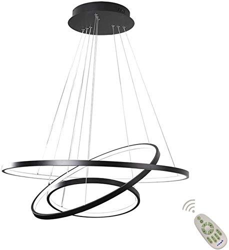 YSNJG Dimmbare LED-Deckenleuchte höhenverstellbare Tischlampe Esszimmer, Wohnzimmer mit Mando Helle Farbe/Helligkeit einstellbar, rund, 3 Ringe [Energieeffizienzklasse A ++]
