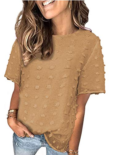 BTFBM Women's Cute Swiss Dot Casual Summer Tops Crewneck Short Sleeve Chiffon Blouses Solid Color Loose Fit Shirts Tees(Brown, Large)