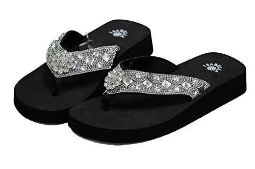 Isabella Women Flip Flop Flat Western Flower Concho Slipper Bling Rhinestone Sandals (XL) Black