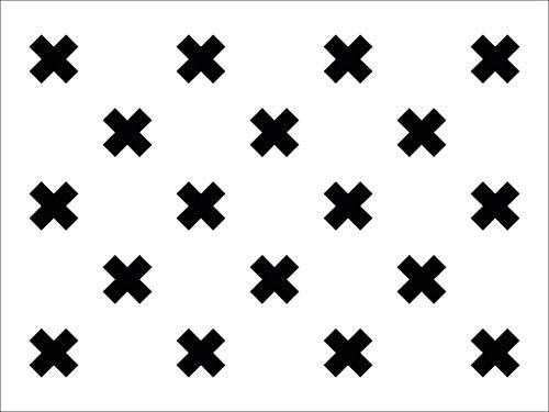 Vinyl vloervinyl   Kriss Kross, Wit met zwarte kruizen   150x150cm