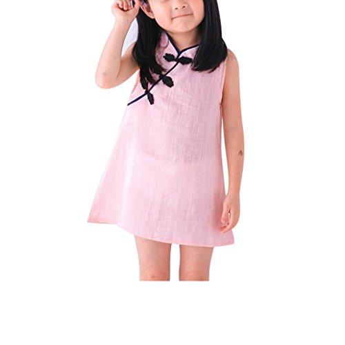 Xshuai pour les enfants de 2 à 7 ans de mode mignon nouveau-né bébé fille robe princesse d'été fête mariage sans manches Cheongsam - Rose - 3-4 ans