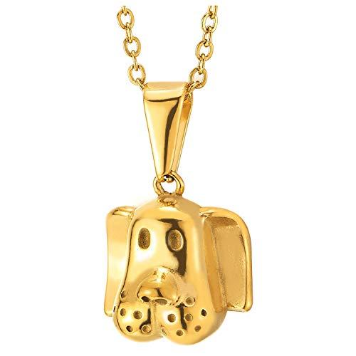 COOLSTEELANDBEYOND Color Oro Perro de Caza Cachorro Cabeza Colgante, Collar de Hombre Mujer, Acero Inoxidable, Cadena Cuerda 50CM