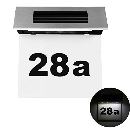 ALLOMN deurplaatverlichting, op zonne-energie werkende deurplaatje, aantal lampen, roestvrij staal, LED, huisdeurnummers, licht, buitenmuur, plak licht