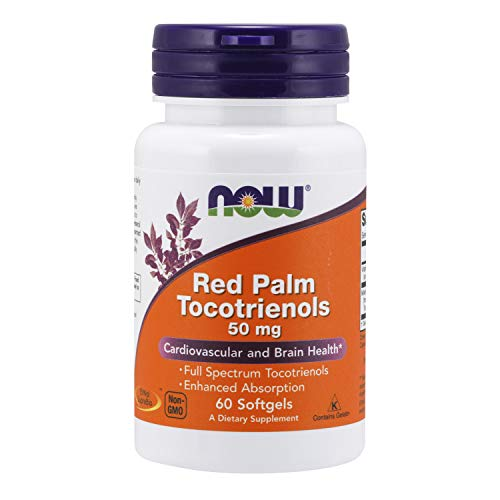 NOW Supplements, Red Palm Tocotrienols 50 mg, with Enhanced Absorption of Full Spectrum Tocotrienols, 60 Softgels