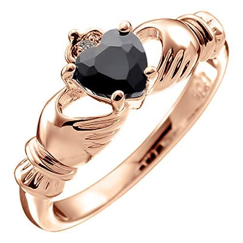 UPCO Jewellery Anillo Chapado en Oro Rosa 18Q, Claddagh Irlandes con Corazón de Cristal Negro ? 7