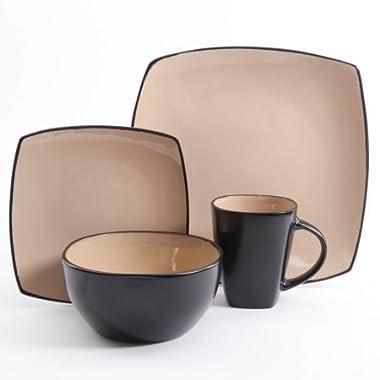 Gibson Home Soho Lounge Square Stoneware 16-piece Dinnerware Set - Light Brown