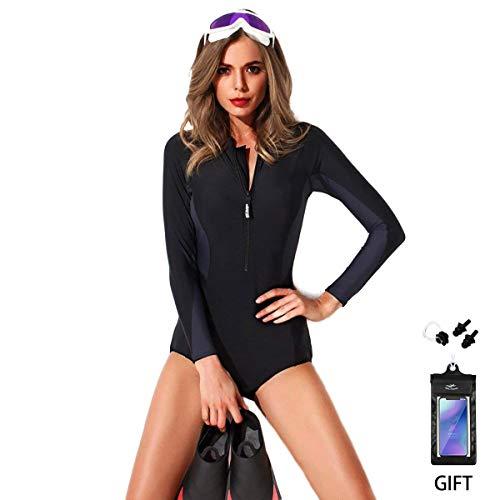 BIKINI Mujer Traje de Baño de 1 Pieza Foclassy Monokini Bikini Zip Front Swimwear Manga Corta Más Tamaño Negro Push Up Traje de Baño 10129