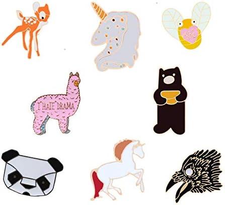 ZSCZQ Alfileres de Esmalte de Animales Oso Caballo Alpaca Ciervo Panda Animal broches joyería de Moda Abrigo alfileres de Solapa botón Mujeres Insignias Regalos para niños