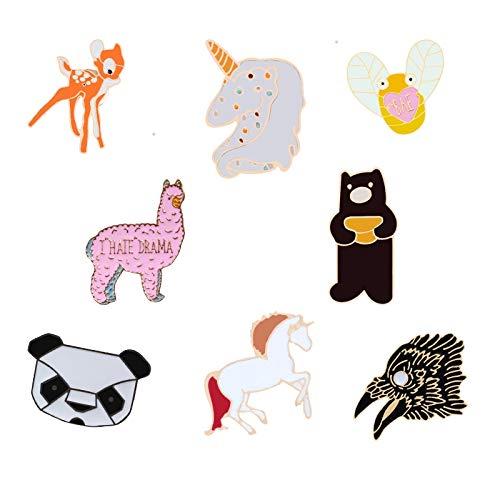 ZSCZQ Alfileres de Esmalte de Animales Oso Caballo Alpaca Ciervo Panda Animal Broches Joyería de Moda Abrigo Alfileres de Solapa Botón Mujeres Insignias Regalos para niños Alpaca