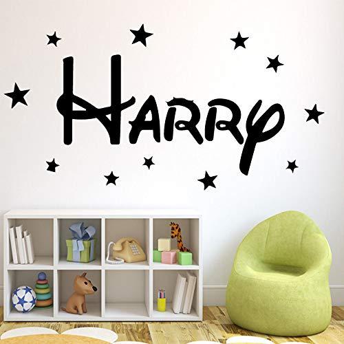 Interesting Custom Name Star Brand Waterproof Wall Decals For The Living Room Children's Room Waterproof Wall Art Gray XL 43cm X 87cm
