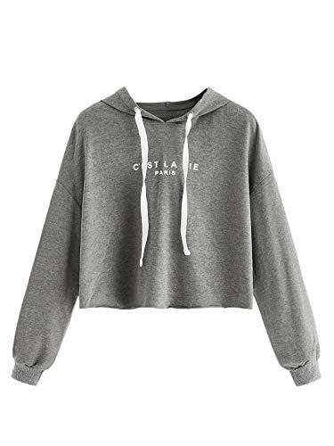 SweatyRocks Women's Letter Print Casual Long Sleeve Crop Top Sweatshirt Hoodies Grey M