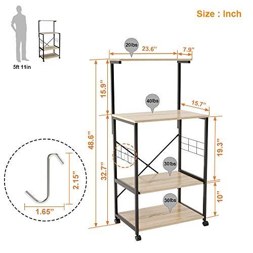 Bestier Kitchen Baker's Rack Utility Storage Shelf Microwave Stand Cart on Wheels with Side Hooks, Kitchen Organizer Rack 4 Tier Shelves Adjustable Feet P2 Wood Oak