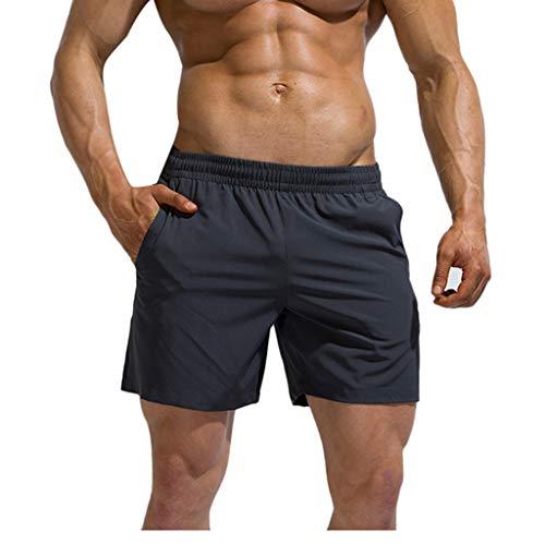 Celucke Laufshorts Herren Badeshorts Kurze Hose mit Taschen und Kordelzug Sport Shorts Sweatshorts Atmungsaktiv Schnell Trocknend Trainingsshorts für Fitness Gym Running (Grau, XXL)