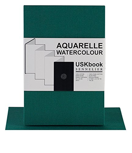 Sennelier USKbook - Aquarellbuch Hardcover Ziehharmonika - grünes Leineneinband - grobe Körnung - 300 GSM - 16 x 24 cm