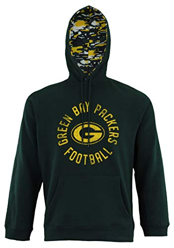 Zubaz NFL Men's Team Camo Lined Pullover Hoodie, Green Bay Packers Large