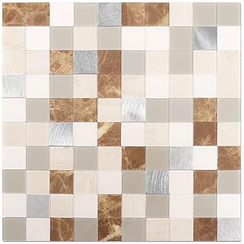 BeNice Adhesivo en azulejos de imitación de piedra mosaico, pegatinas de azulejos de cocina, baño, 25 x 25 cm (5 hojas, metal marrón)
