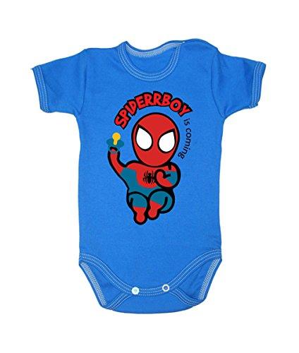 Couleur Mode bébé Spiderman bodies à manches courtes 100% coton Petit bébé – 24 mois – 0003 bleu 9-12 months, 80 cm
