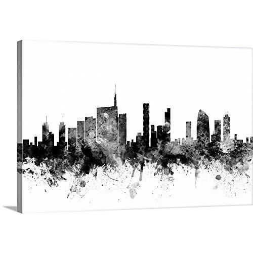 "Milan Italy Skyline Canvas Wall Art Print, 60""x40""x1.25"""