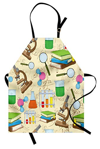 Lunarable School Apron, Science Education Lab Sketch Books Equation Loupe Microscope Molecule Flask Print, Unisex Kitchen Bib with Adjustable Neck for Cooking Gardening, Adult Size, Cream