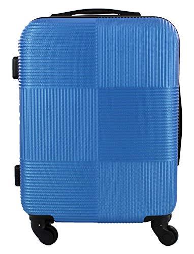 Maleta Equipaje de Mano Cabina rígida Ligera con 4 Ruedas, 55cm Cuadros con Rayas (Azul)