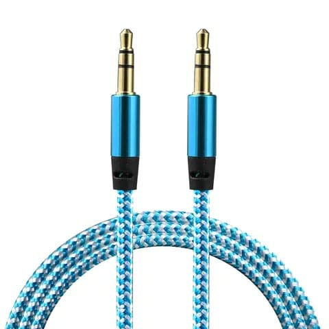 ICALL Braided Metal Aux Audio Cable with 3.5mm Male to Male High Plated Connectors Compatible with All Car/Headphone/Home Theater (Assorted Colour) 1m