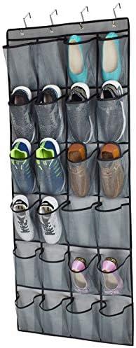 Over The Door Shoe Organizer 24 Extra Large Mesh Pockets Closet Hanging Shoe Rack Holder Organizer product image