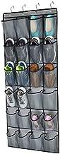 Over The Door Shoe Organizer,24 Extra Large Mesh Pockets ,Closet Hanging Shoe Rack Holder Organizer ,Shoe Door Hanger, Double Stitching with 4 Sturdy Metal Hooks ,Gray (65.4