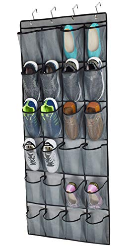 Over The Door Shoe Organizer,24 Extra Large Mesh Pockets,Closet Hanging Shoe Rack Holder Organizer,Shoe Door Hanger, Double Stitching with 4 Sturdy Metal Hooks,Gray (65.4