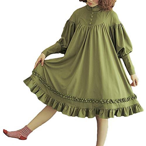 Z.L.F.J.P 5 Colores gtico Lolita Vestido japons Suave Vestidos Negros algodn Mujeres Princesa Vestido nia Disfraz de Halloween (Color : Army Green, Size : 3XL)