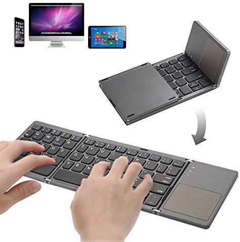 Pocket Size Foldable Bluetooth Keyboard Portable USB Rechargeable Bluetooth Keyboard with Touchpad product image