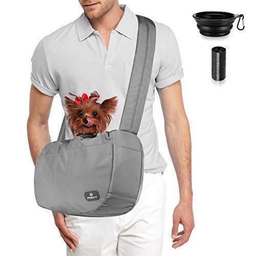 PHILORN Verstellbarer Tragetuch Hund Katze, Hundetragetasche, Welpen Umhängetasche Hand Schleuderträger Schultertasche, Tragetaschen mit Weicher Schultergurt, Atmungsaktive Net für Haustier bis 30 lbs
