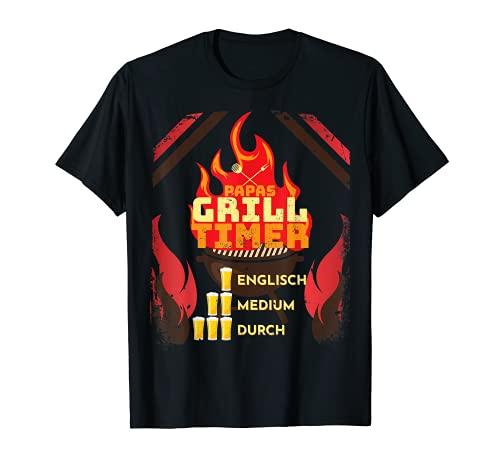 Herren Papas Grill Timer, lustiges Steak grillen, Vater und Bier T-Shirt