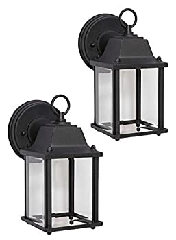 CORAMDEO Outdoor 2 Pack LED Wall Sconce Light for Porch Patio Barn and More Wet Location Built in LED Gives 75W of Light 800 Lumens 3K Durable Cast Aluminum with Black Finish & Beveled Glass