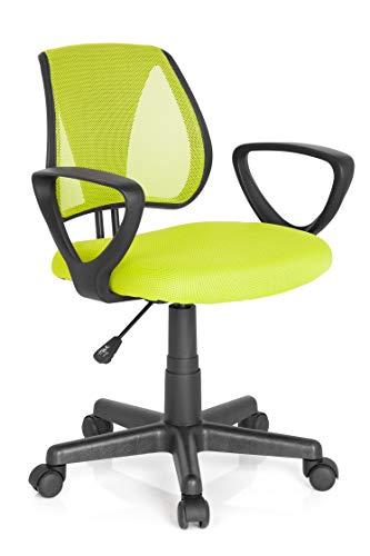 hjh OFFICE 725108 Kinder- und Jugenddrehstuhl KIDDY CD Netzstoff Grün höhenverstellbare Rückenlehne, Stuhl mit Armlehnen