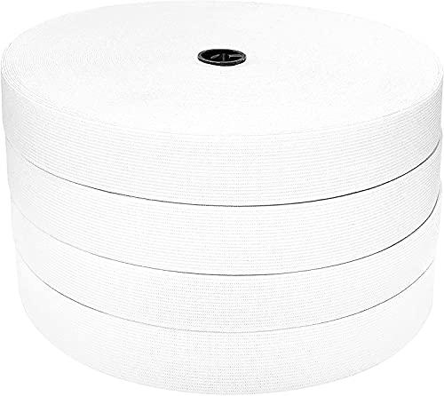 25M Bande élastiques de couture, bande élastique plate, bande élastique large, large bande élastique plate, bande élastique blanche, tissu élastique à coudre, bandes à coudre Blanc (25m x 20mm)