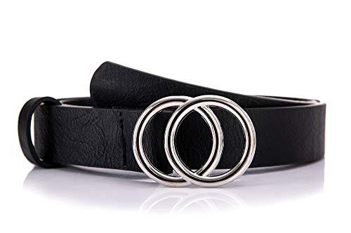 irisaa Schmaler Damen Gürtel mit runder Metallschnalle zwei Ringen, Hüftgürtel Taillengürtel mit Ringschnalle, ca. 3 CM breit, Farbe:schwarz new look, Länge:80
